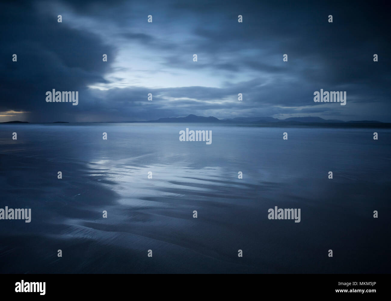 First Light over the beach at Mulranny Co Mayo, Ireland - Stock Image
