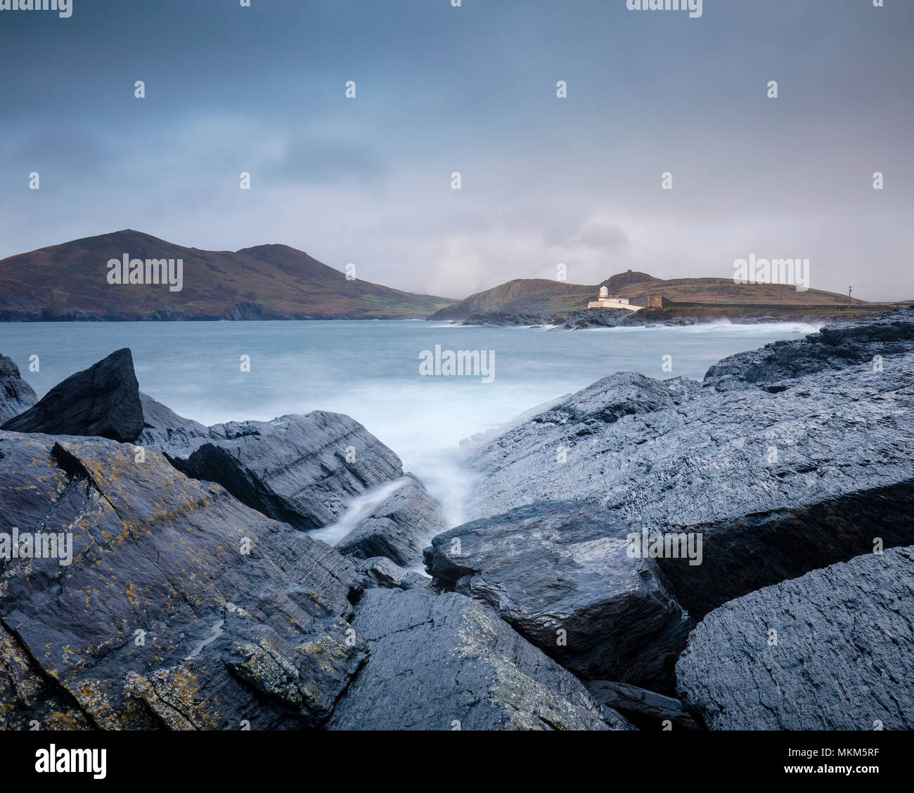 Scenic photograph looking out on Valentia Island Lighthouse County Kerry Ireland - Stock Image