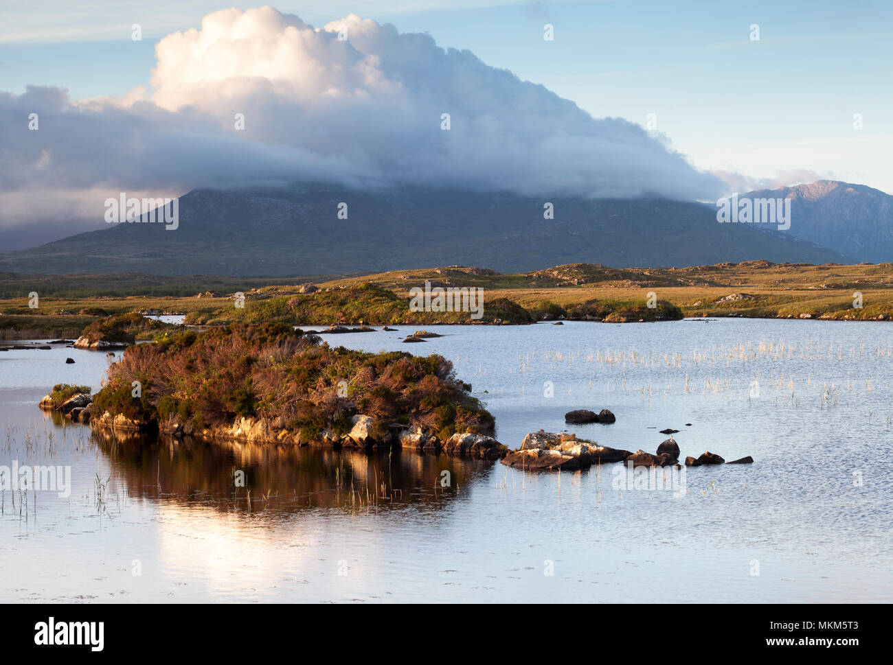 Landscape photograph from Connemara  County Galway Ireland, looking back out towards the Twelve Bens - Stock Image