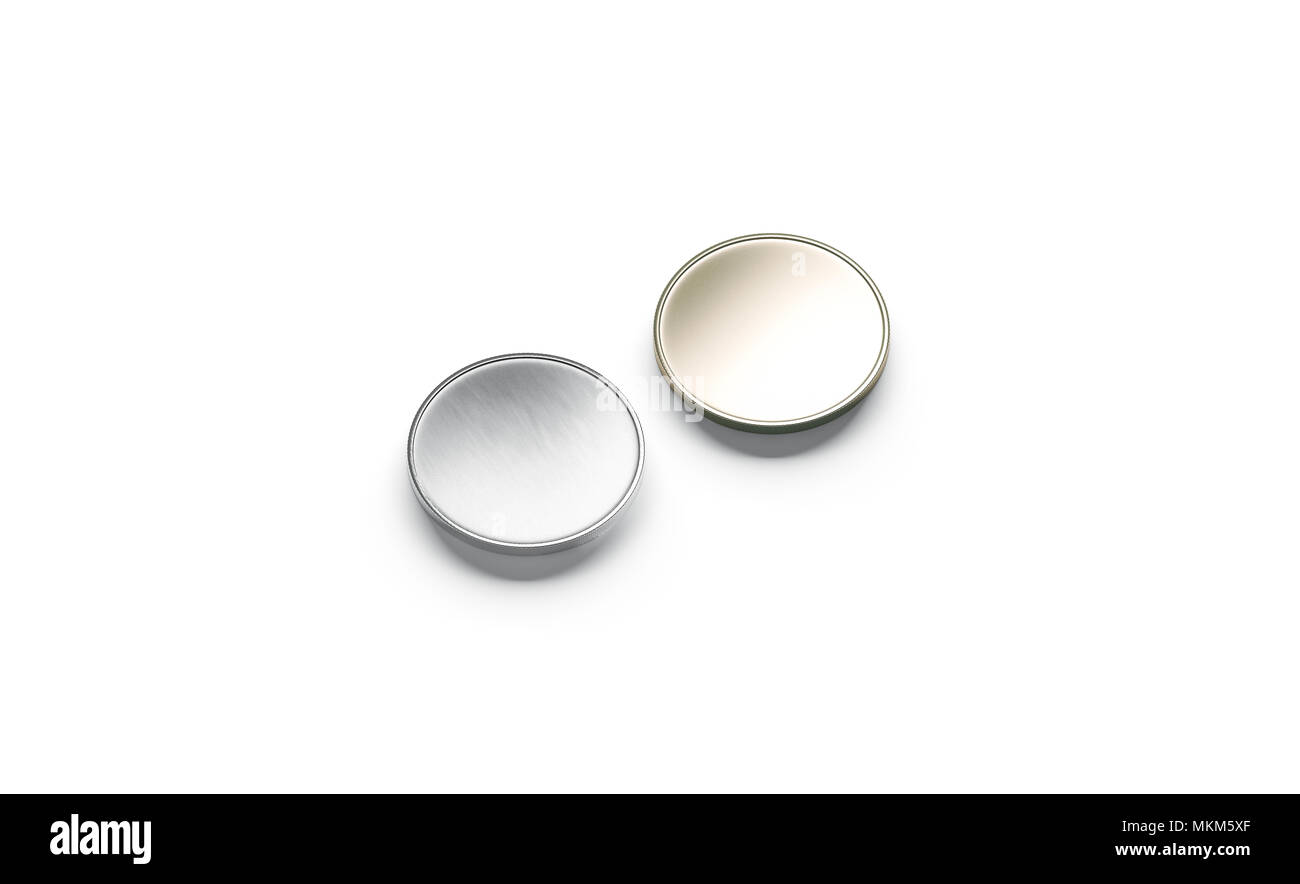 blank silver and gold coin mock up isolated 3d rendering empty