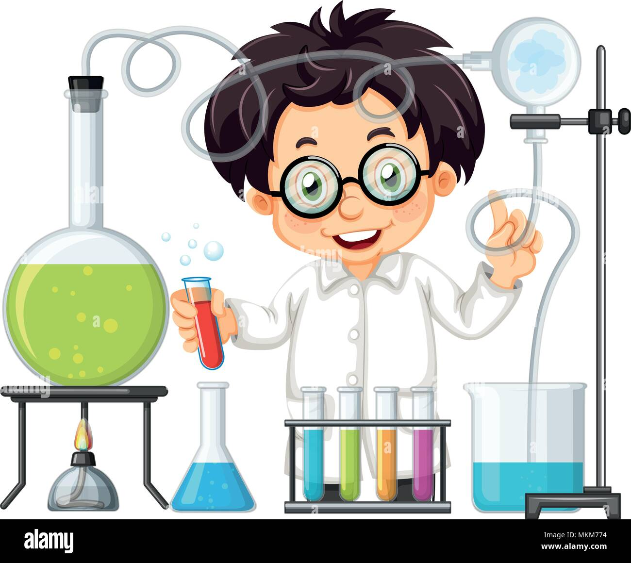A Chemist Experiment at Lab  illustration - Stock Vector