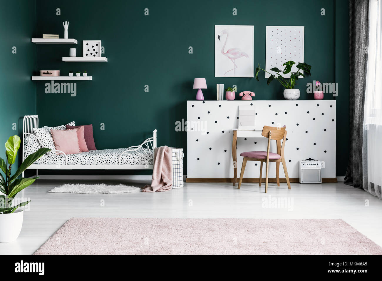 designer fashion fa197 7aa98 Posters on green wall in girl's bedroom interior with white ...