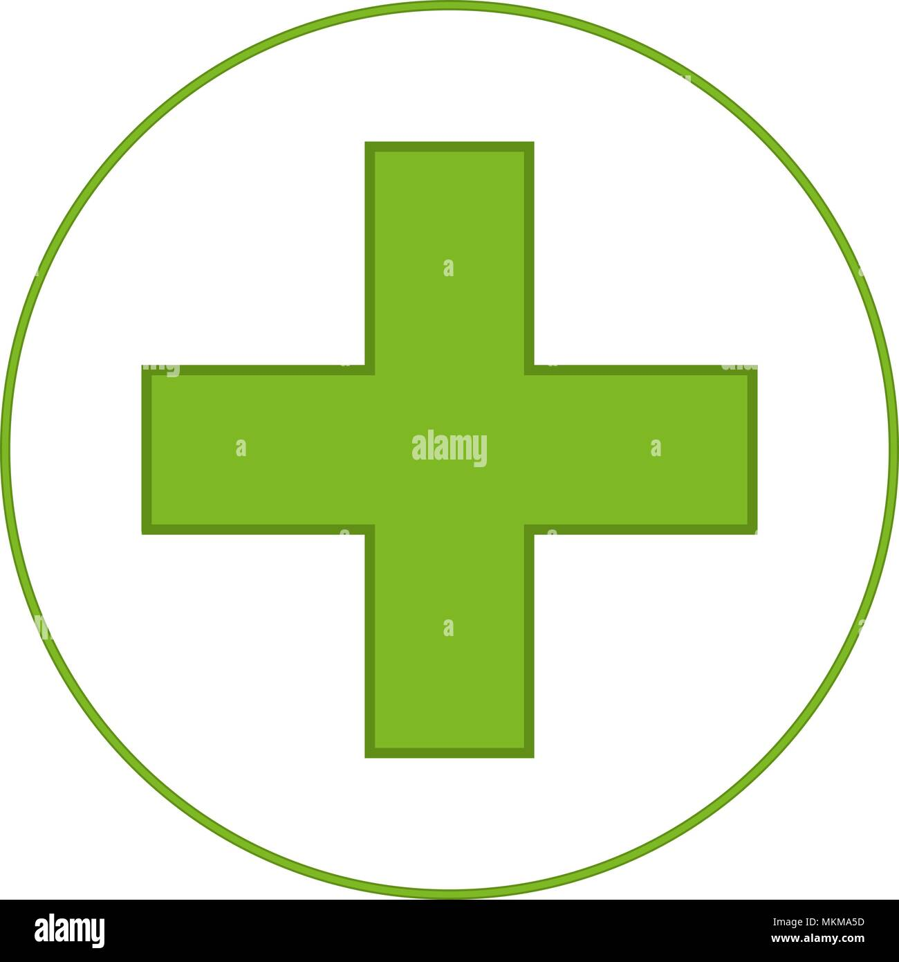 Bright Green Medical Cross Symbol Healthcare Themed Vector