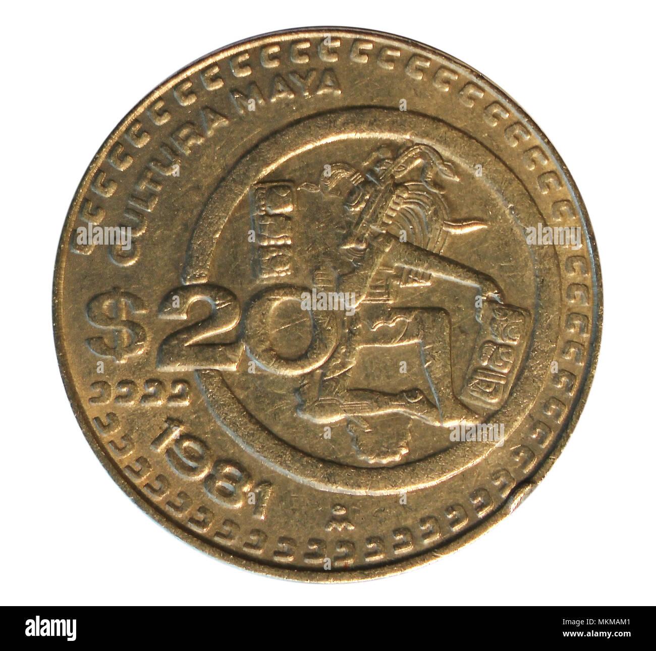 Twenty peso coin. Bank of Mexico. Obverse. 1981 - Stock Image