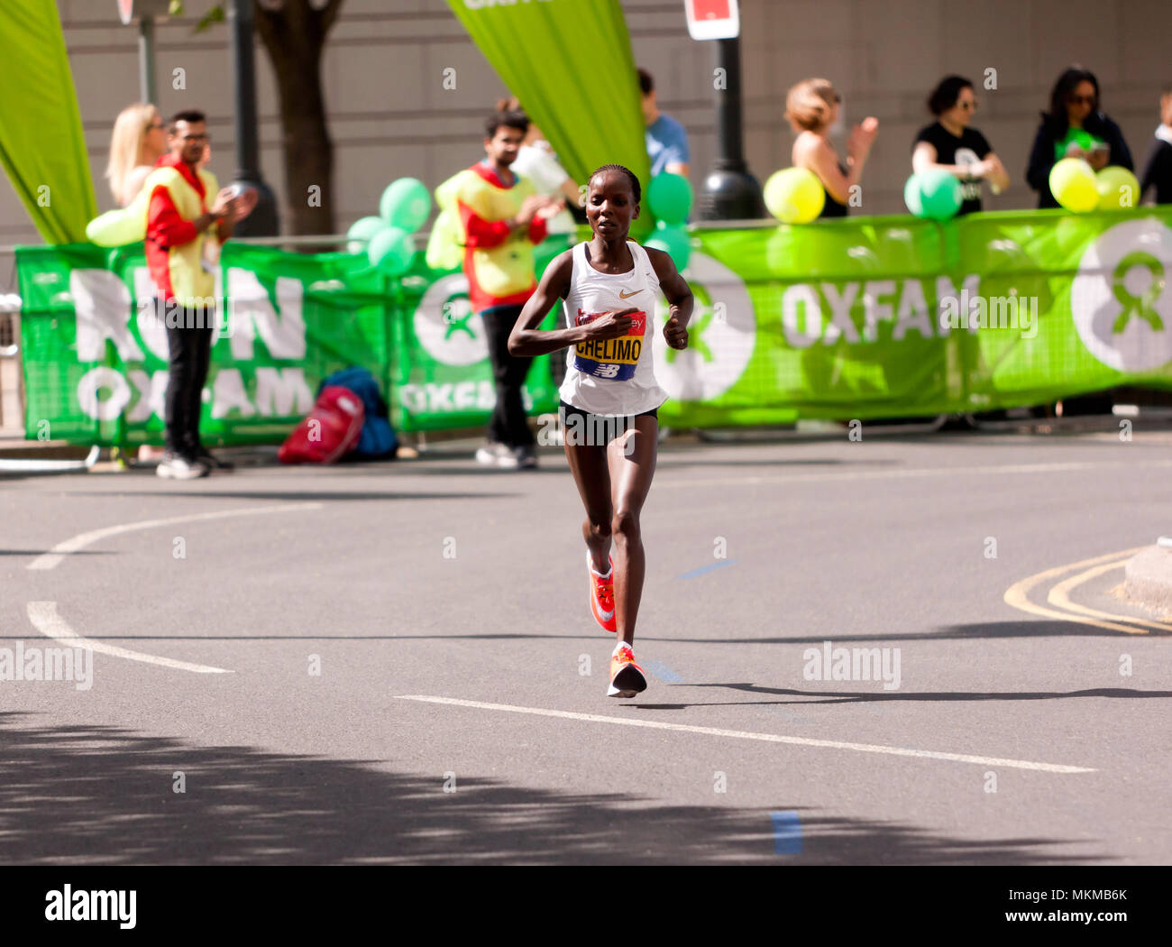Rose Chelimo competing for   Bahrain, in the 2018 Elite Women's London Marathon. She went on to finish 6th, in a time of 02:26:03 Stock Photo