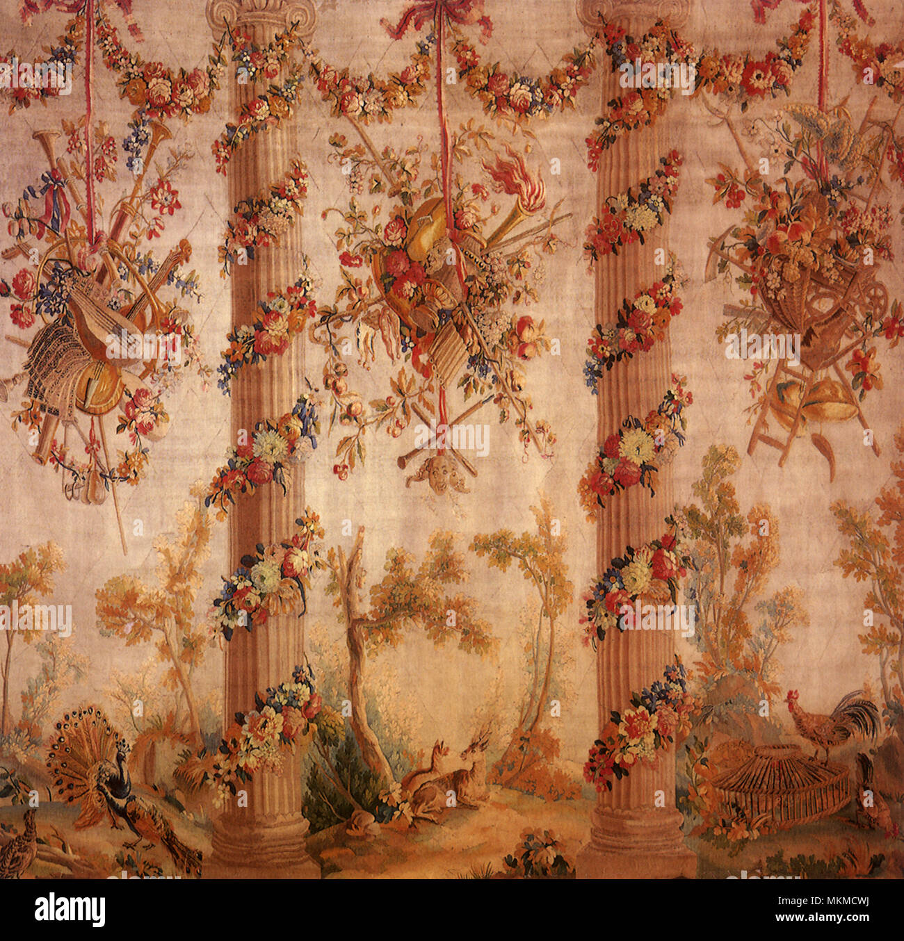 Decorative Tapestry with Columns Stock Photo