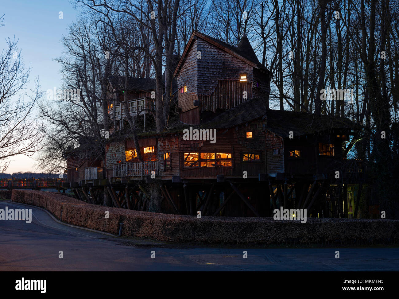 The Treehouse Restaurant at dusk in The Alnwick Garden, Alnwick, Northumberland, North East England, United Kingdom - Stock Image