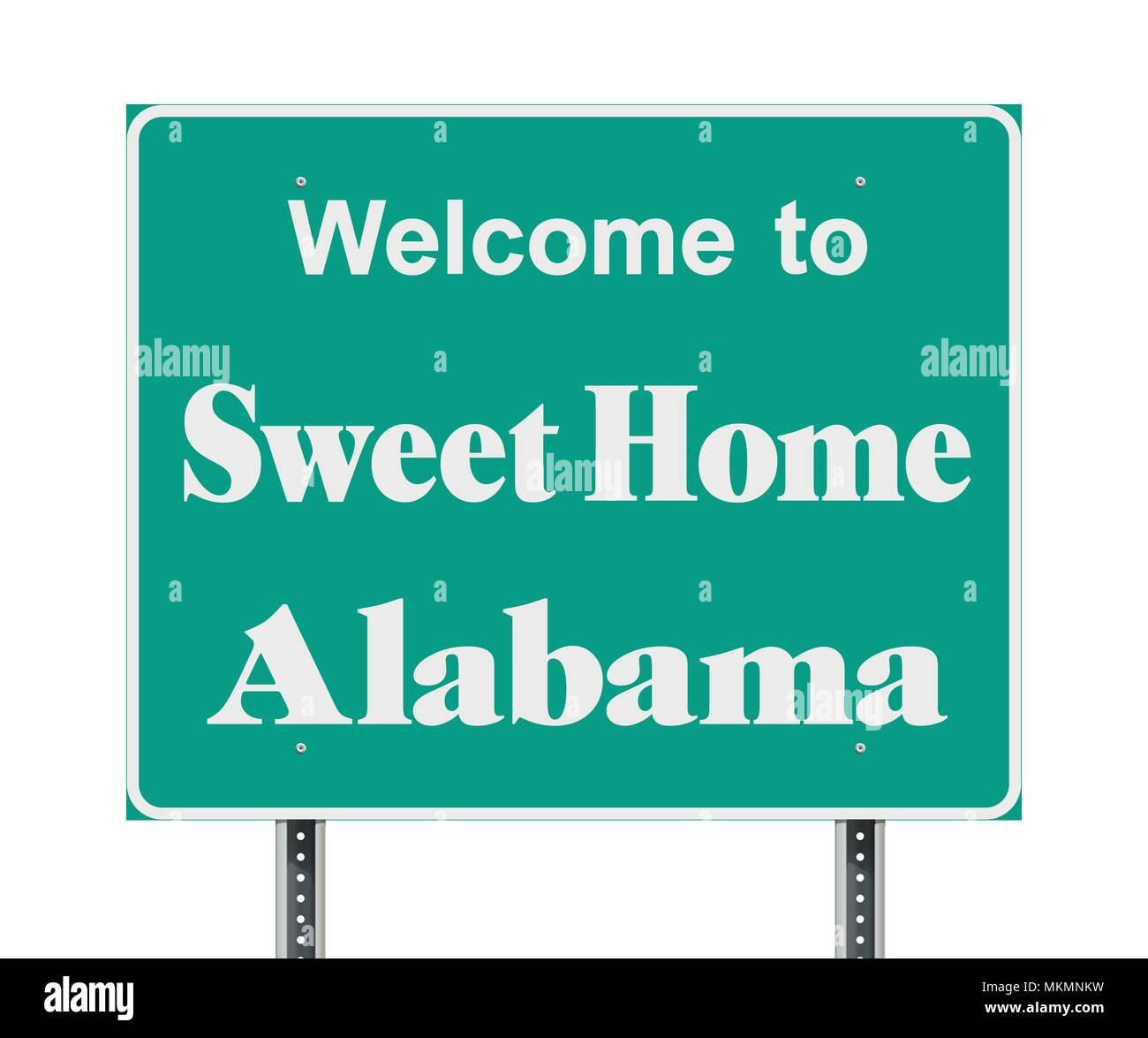 Vector illustration of the Welcome to Sweet Home Alabama green  road sign - Stock Vector