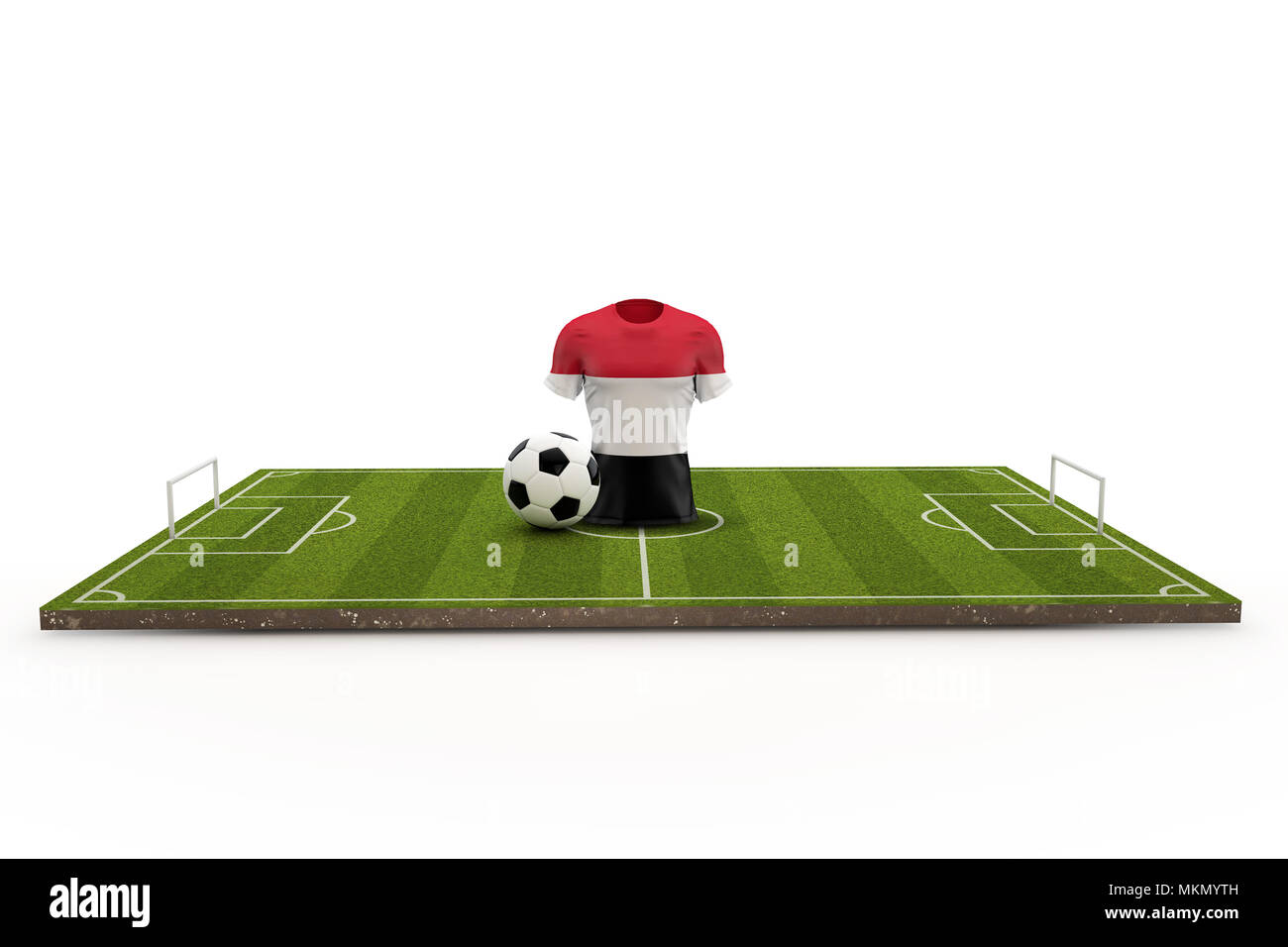 Yemen soccer shirt national flag on a football pitch. 3D Rendering - Stock Image