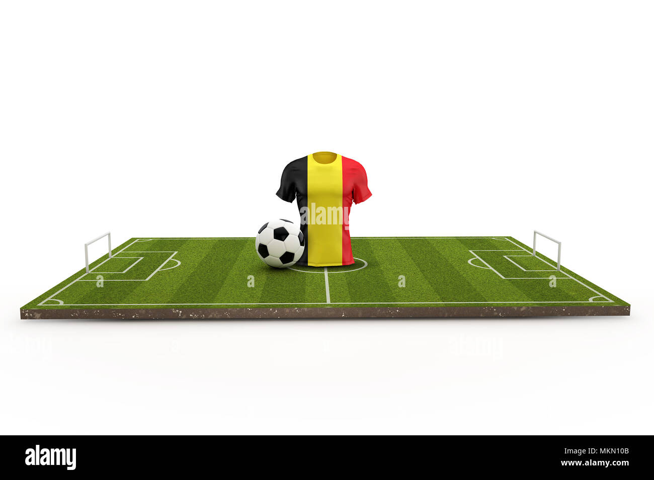 Belgium soccer shirt national flag on a football pitch. 3D Rendering -  Stock Image 30a0d387c