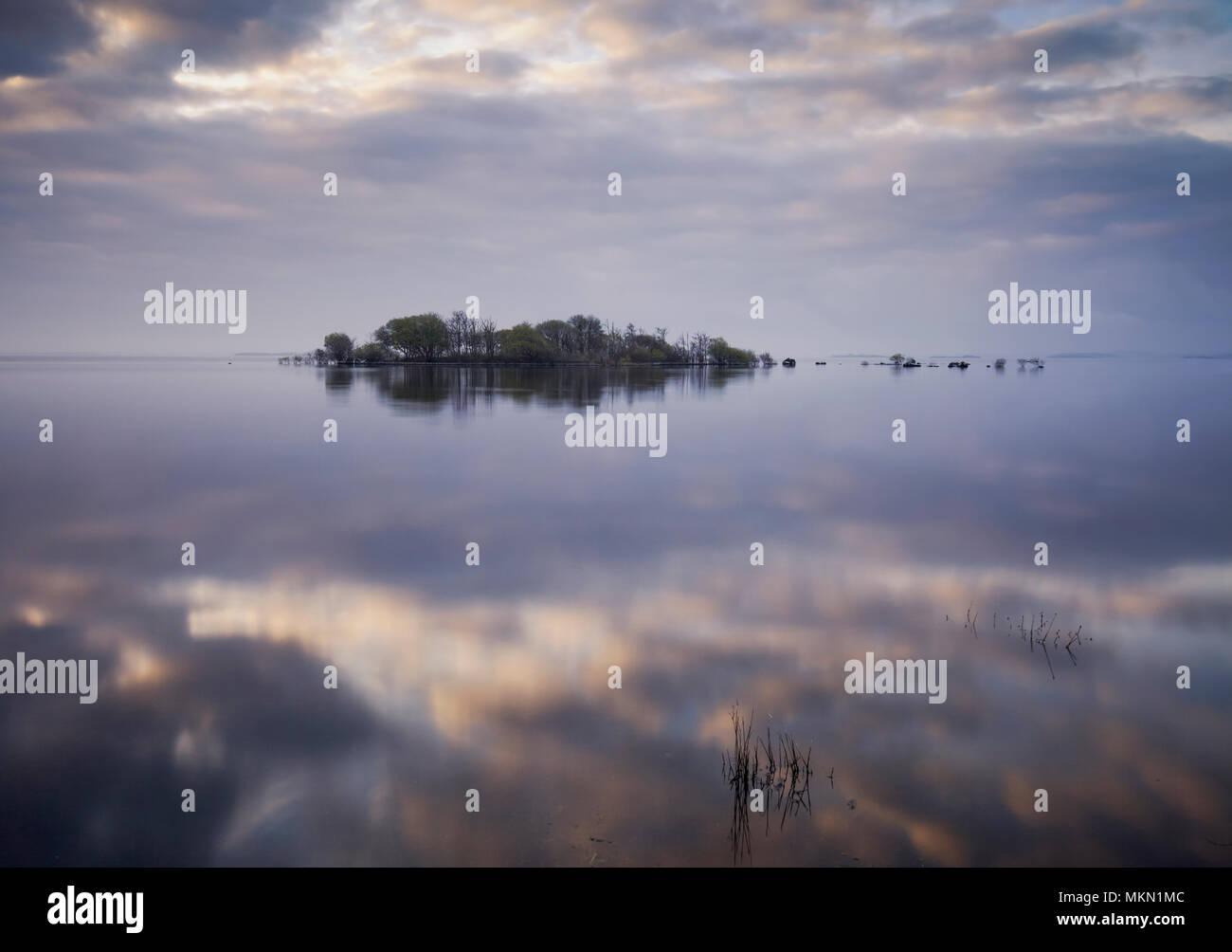 Reflections over Lough Mask County Mayo Ireland - Stock Image