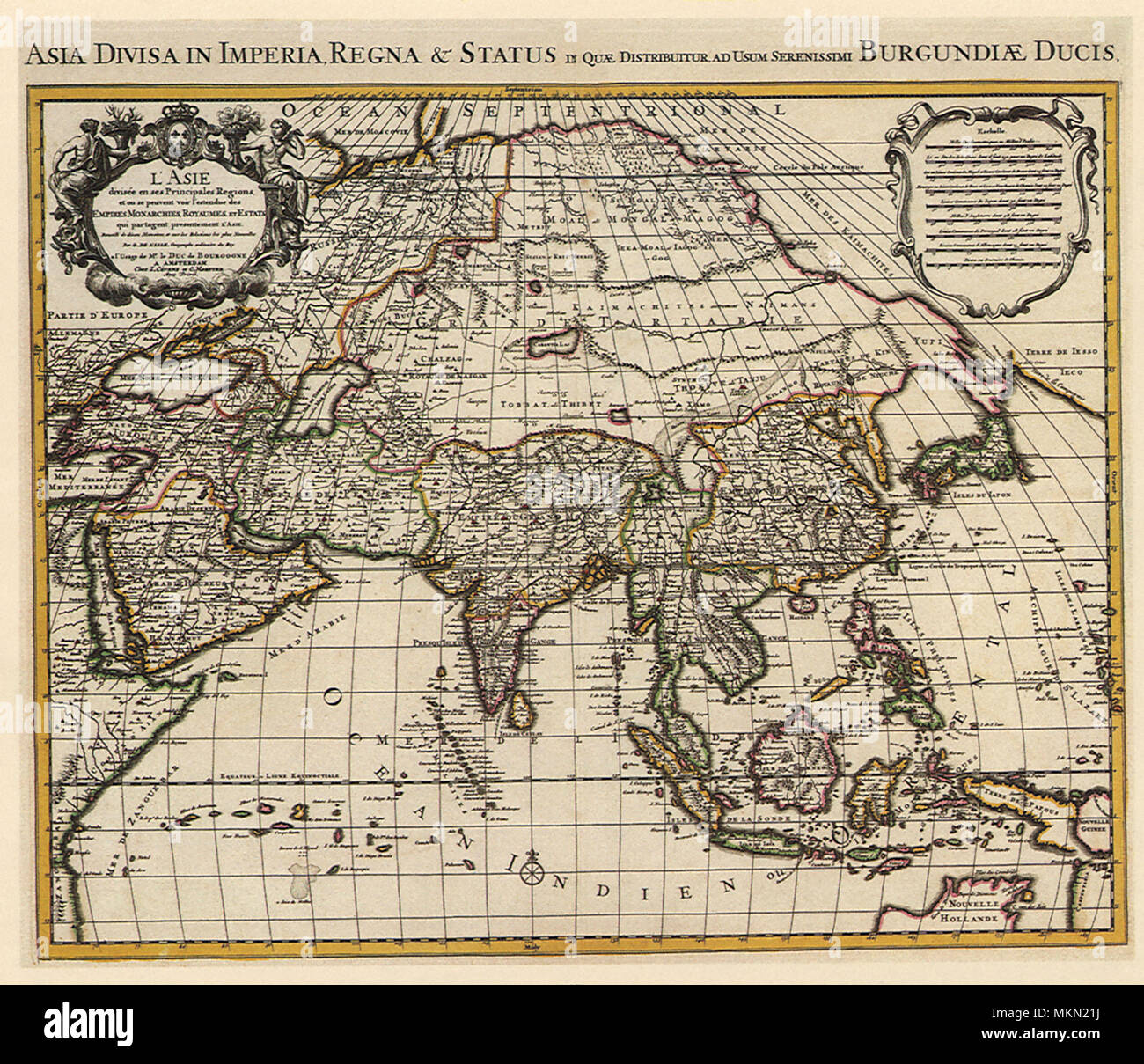Map Of Asia In French.French Map Of Asia 1700 Stock Photo 184244750 Alamy