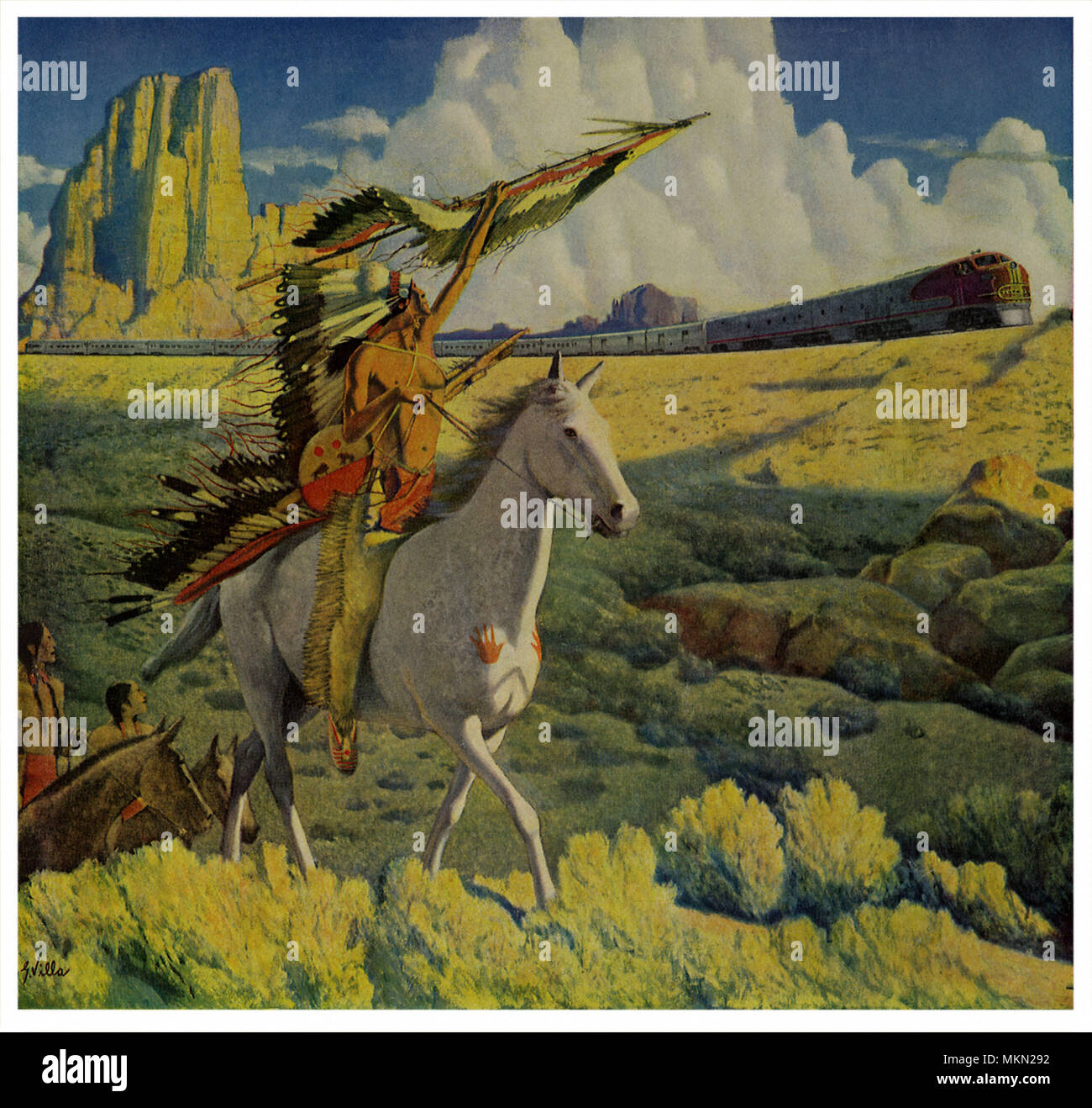 Chief Salutes Heavens - Stock Image