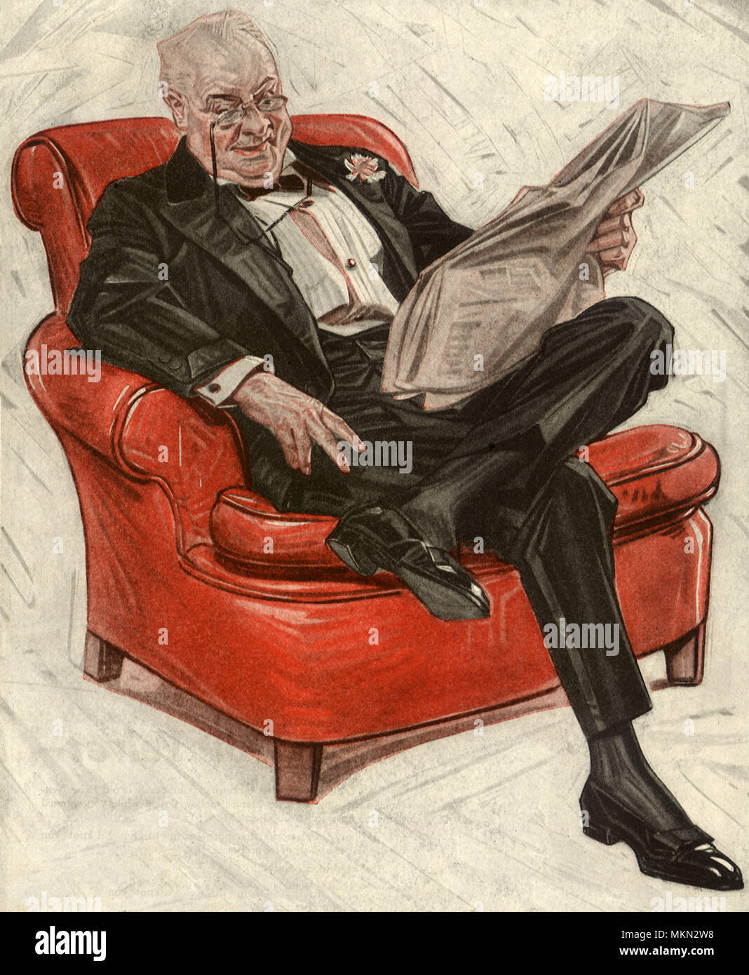 Man Reads Paper in Tux - Stock Image
