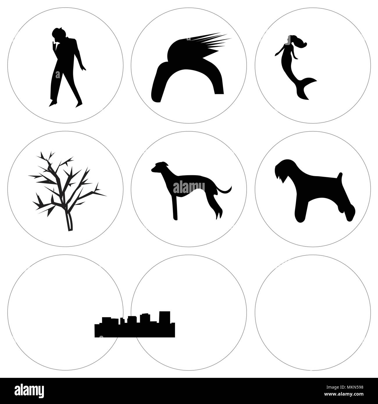 Set Of 9 Simple Editable Icons Such As Miniature Schnauzer