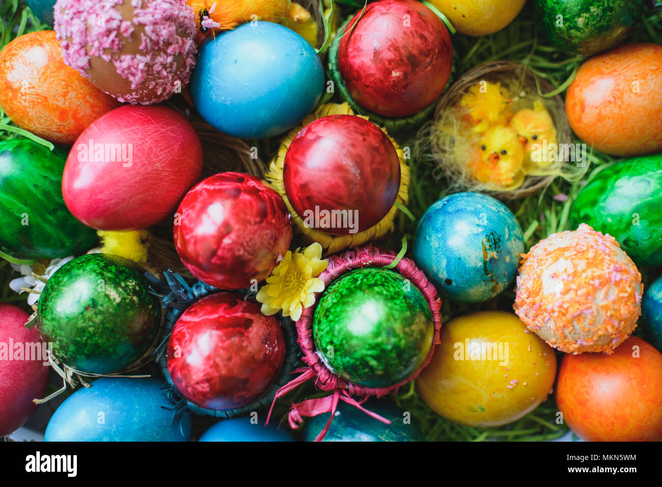 Painted and decorated easter eggs, colorful and abstract composition Stock Photo