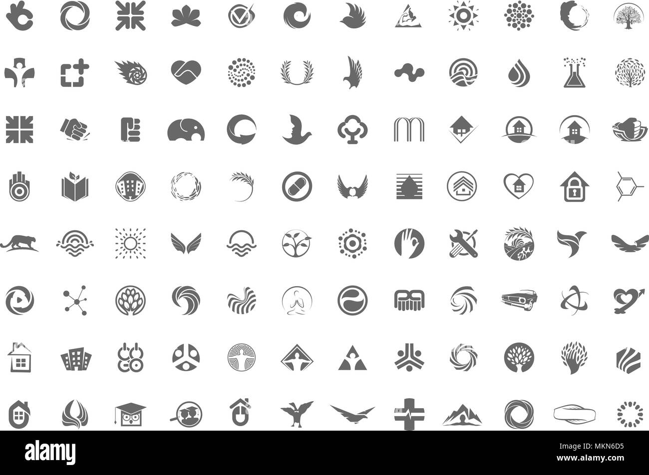 A huge collection of trendy, unusual symbols, icons or logos in one collection on a white background. Minimalist vector design elements signs. - Stock Vector