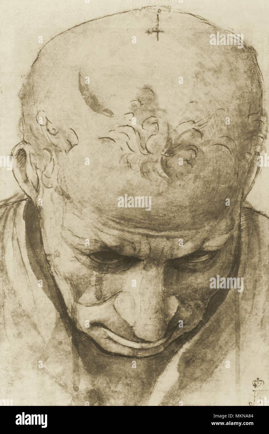 Bowed Head of Old Man - Stock Image
