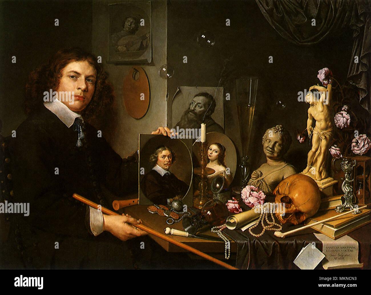 Self Portrait with Vanitas Symbols - Stock Image