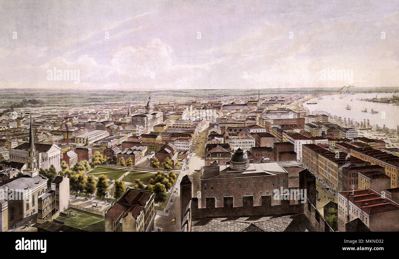 New Orleans from St. Patrick's Church 1852 - Stock Image