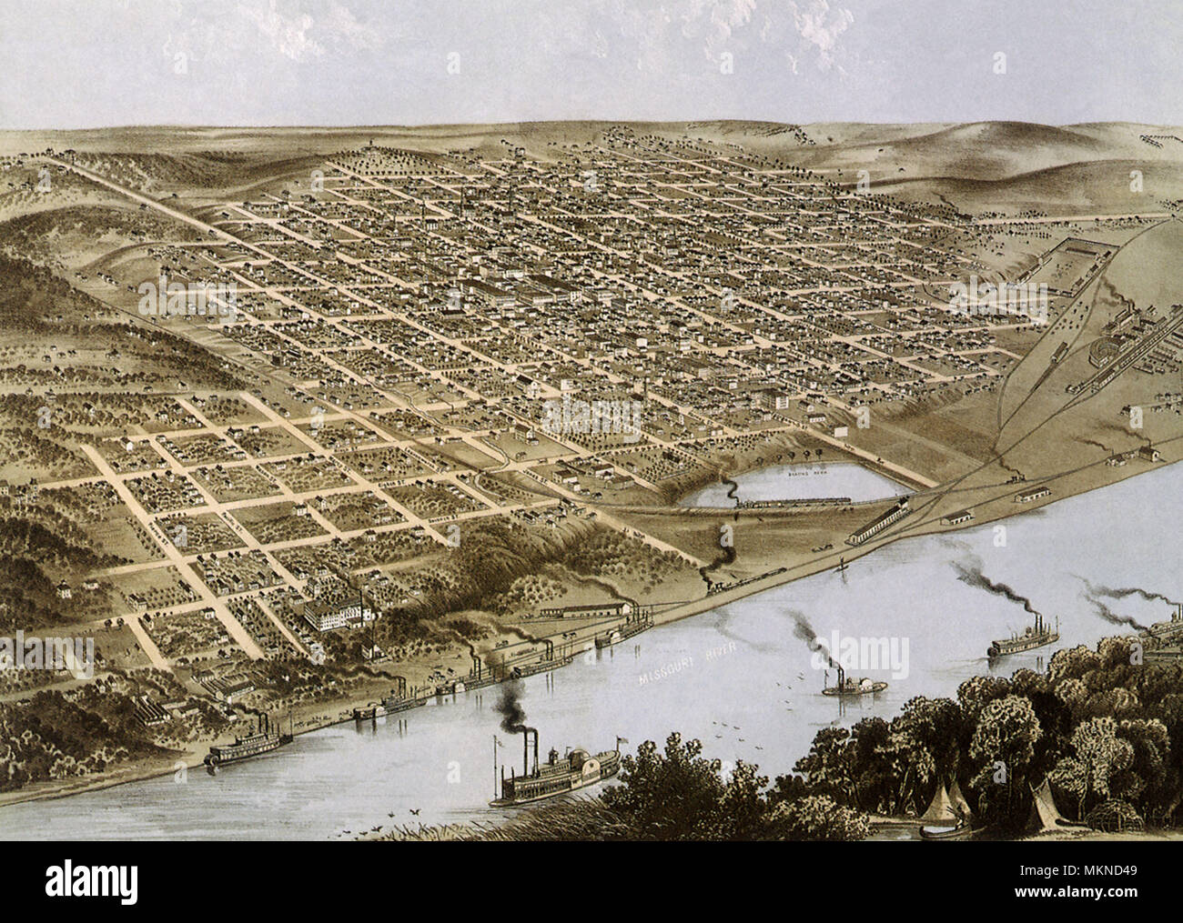 Bird's Eye View of the City of Omaha, Nebraska 1868 Stock