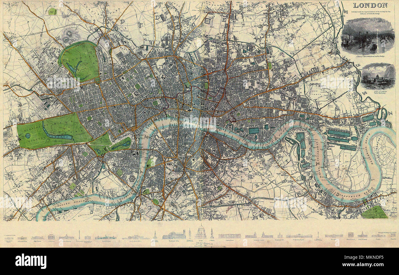 Map of London 1836 - Stock Image