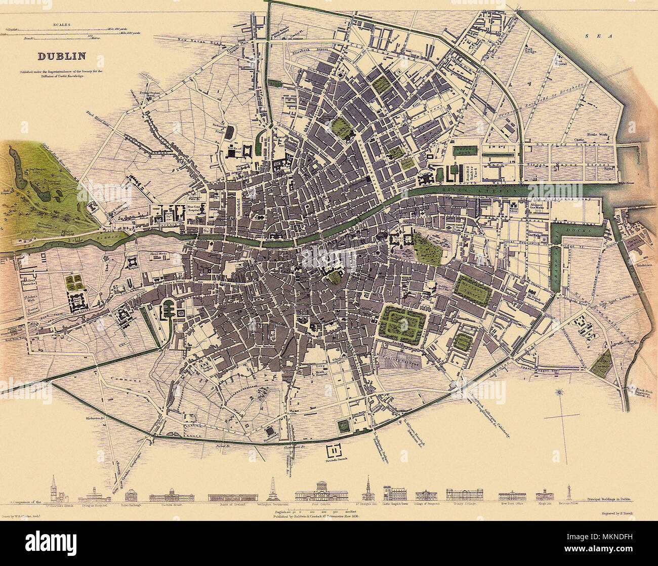 Map of Dublin 1836 Stock Photo: 184253765 - Alamy
