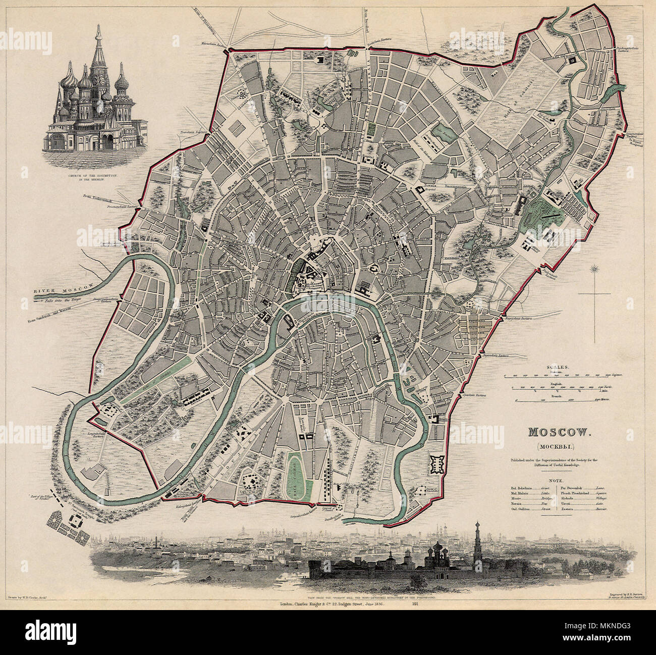 Map of Moscow 1836 - Stock Image