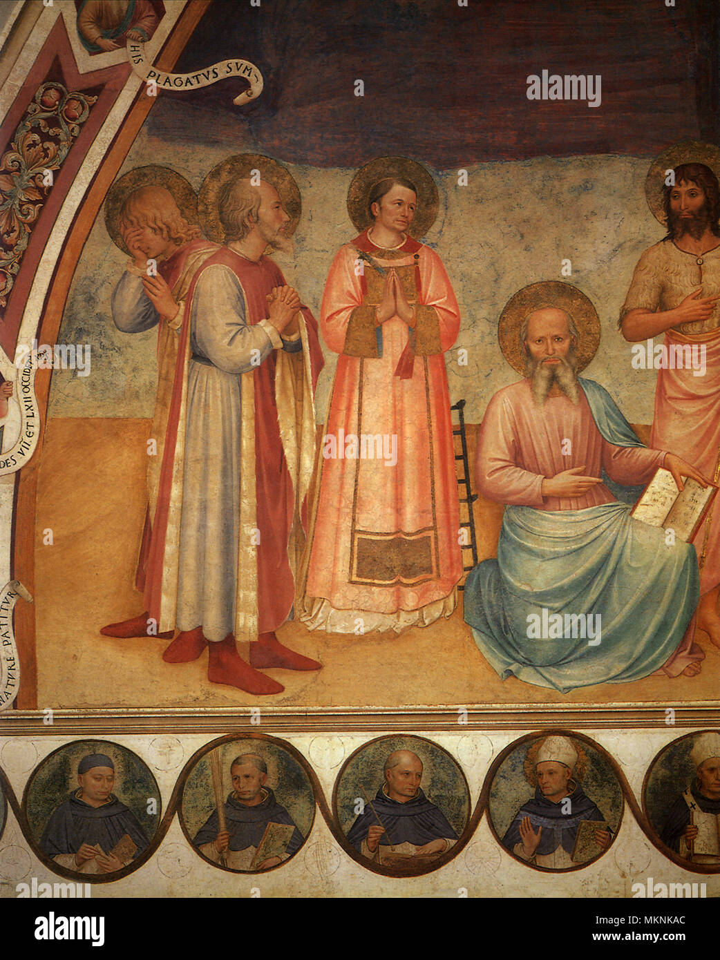 Crucifixion, detail, Saints Mark, Lawrence, Cosmas & Damian - Stock Image