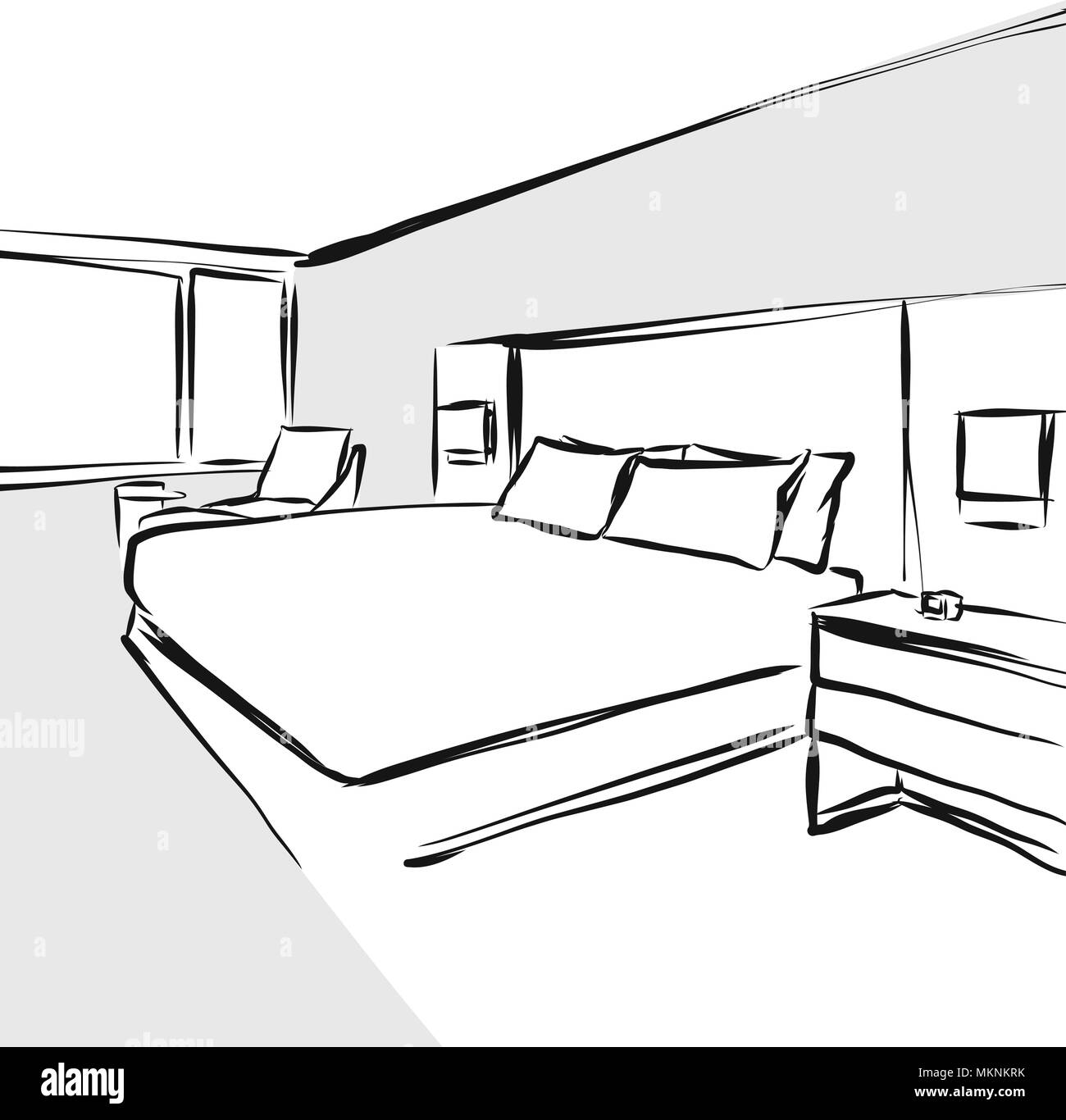 Interior Design Line Art Vector : Bedroom interior design concept drawing hand drawn vector