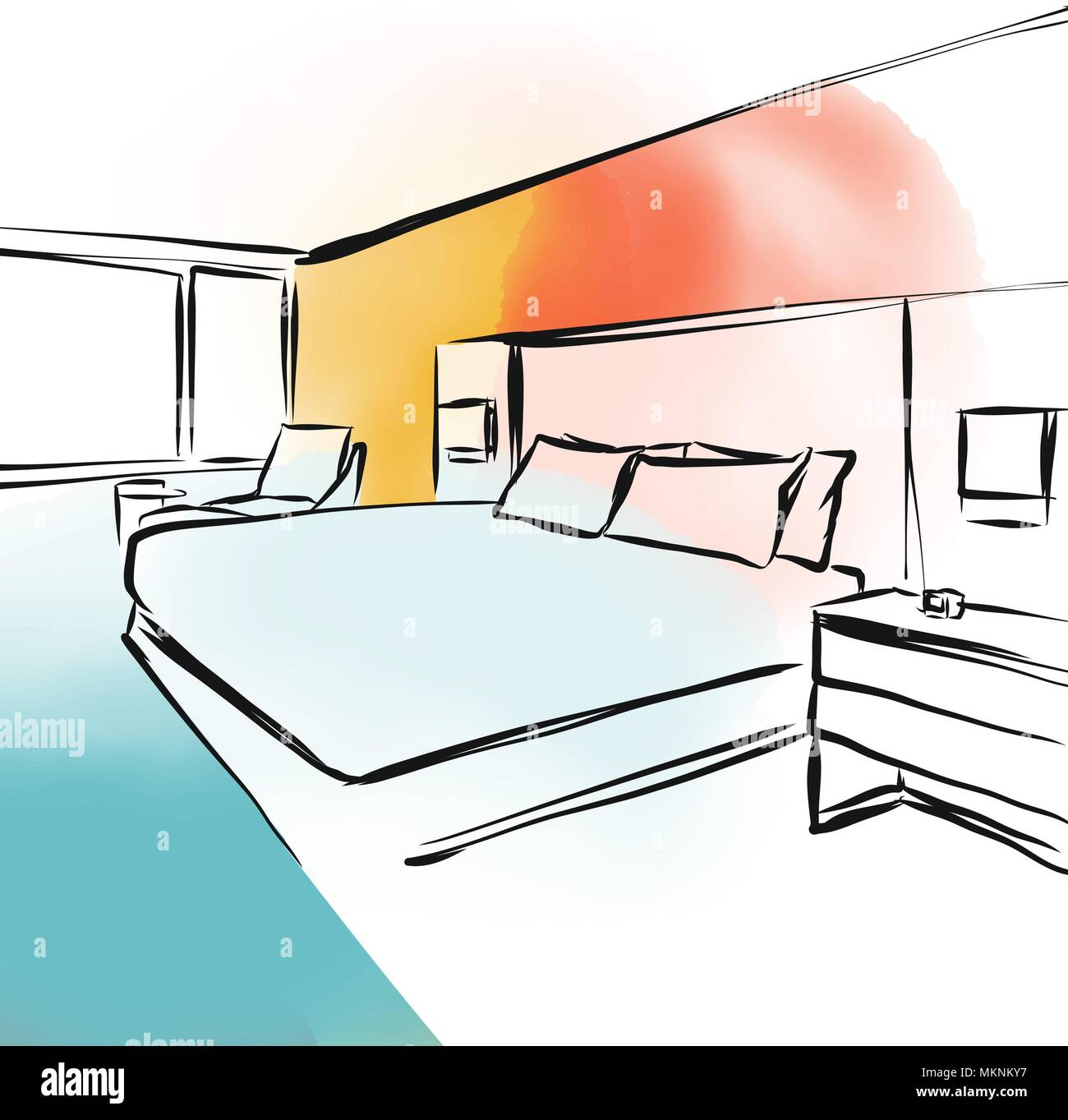 feng shui bedroom concept design sketch, hand-drawn vector illustration - Stock Vector