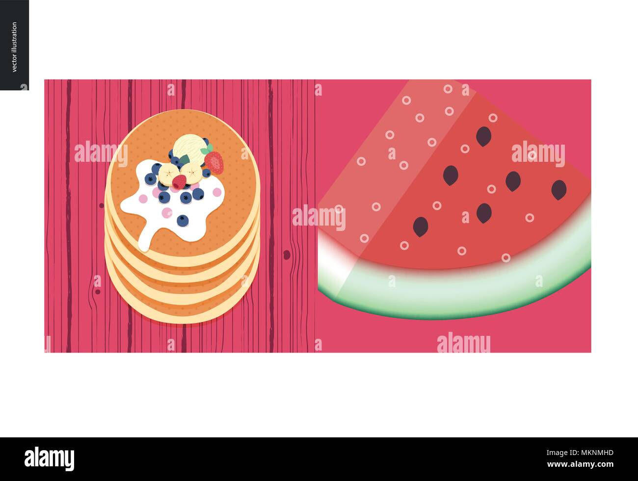 Simple things - color - flat cartoon vector illustration of stack of pancakes, vanilla ice cream scoop, bananas, huckleberries, strawberries, raspberr - Stock Vector