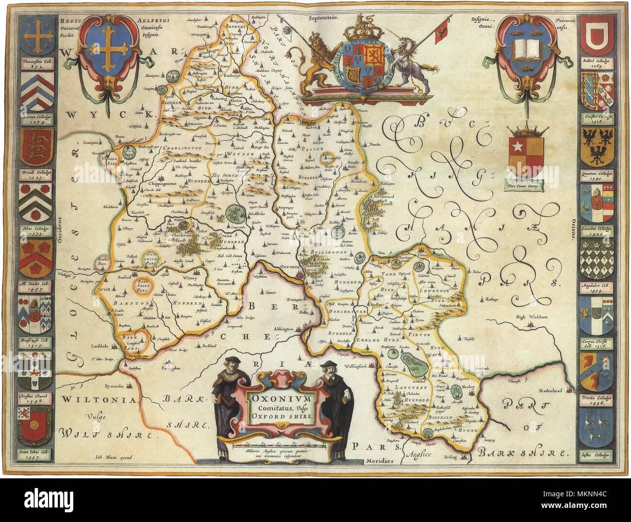 English Counties\' Map 1645 Stock Photo: 184259724 - Alamy