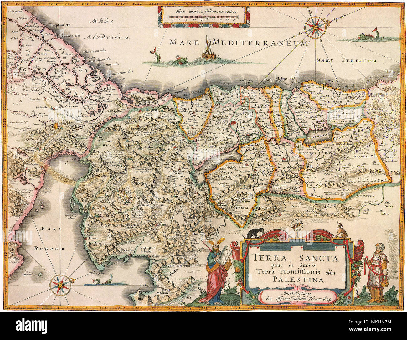 Map of Palestine 1629 - Stock Image