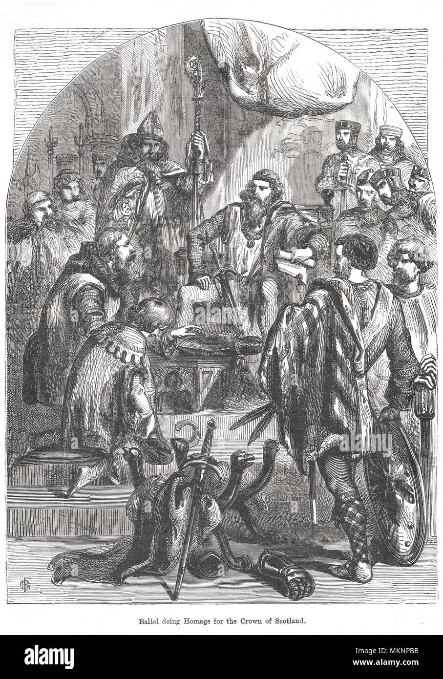 John Balliol, King of Scots, doing homage to Edward I of England - Stock Image