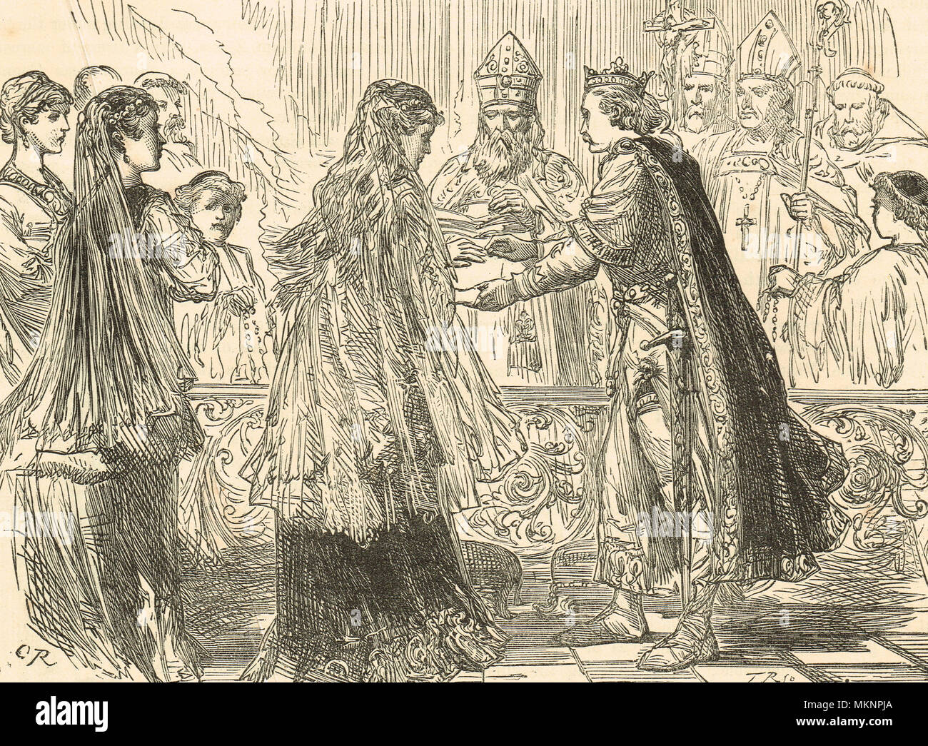 The marriage of King Henry I of England and Matilda of Scotland, 1100 - Stock Image