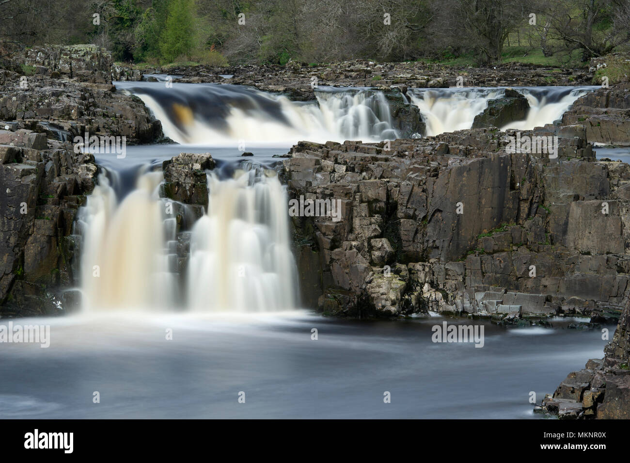A long exposure image of Low Force Waterfalls in Teesdale, North Pennines AONB Stock Photo