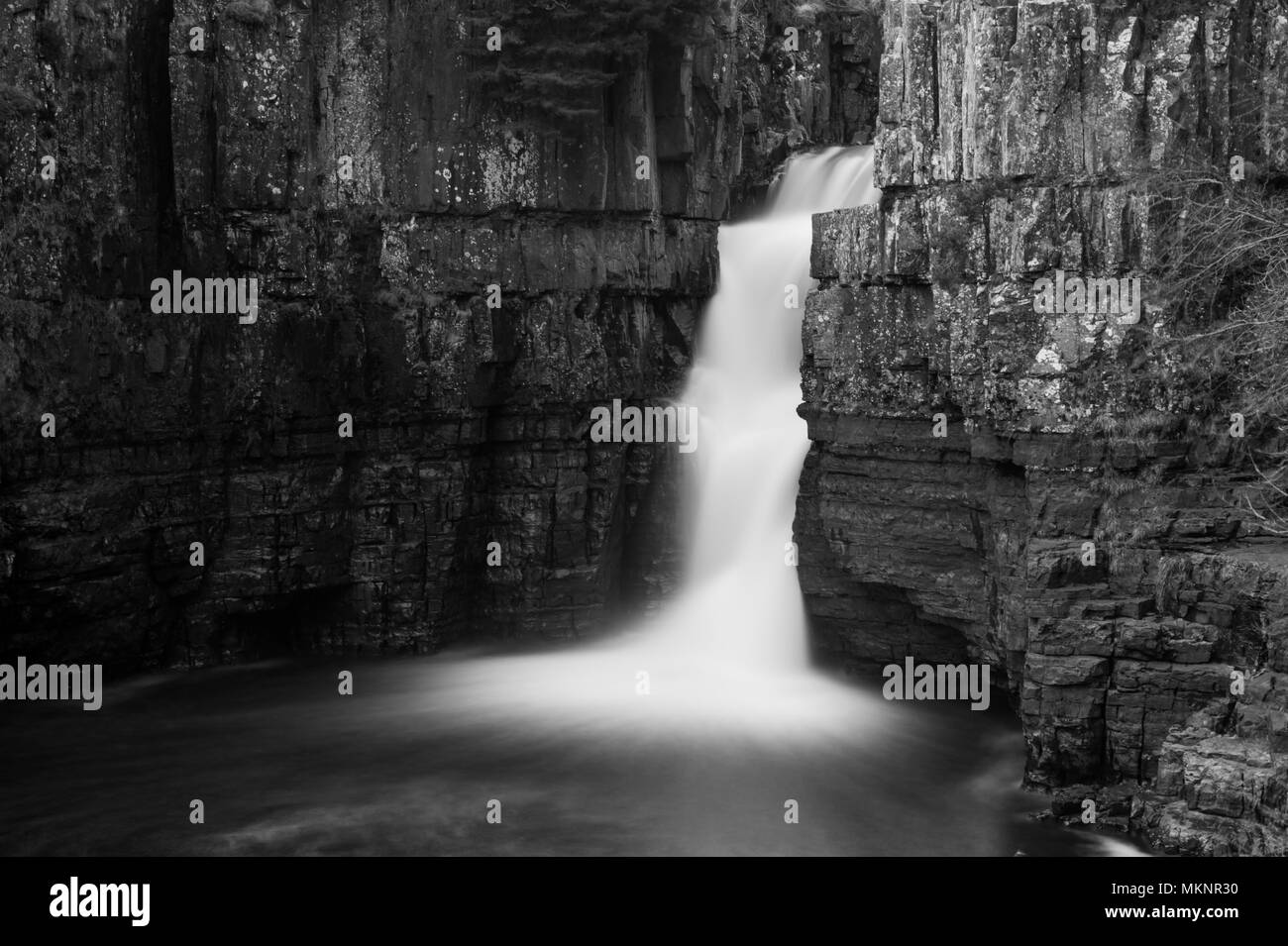 A long exposure image of High Force Waterfall in Teesdale, North Pennines AONB - Stock Image