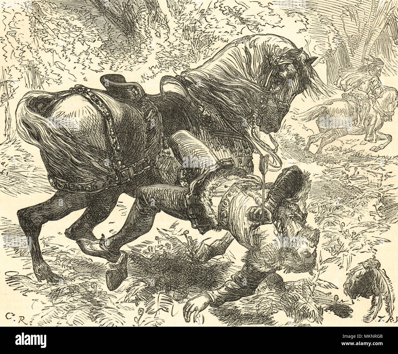 The Death of William Rufus, New Forest, 2 August 1100, struck by an arrow while hunting, under circumstances that remain unclear, with unproven suspicions of murder - Stock Image