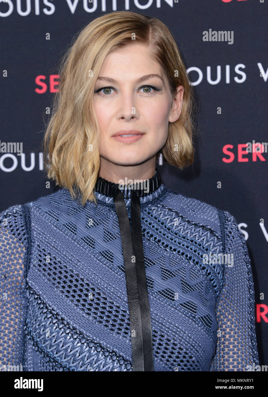 Rosamund Pike 027 at  the Louis Vuitton Series 2 exhibition  at 1135 north Highland in Los Angeles.  February 5, 2015Rosamund Pike 027  Event in Hollywood Life - California,  Red Carpet Event, Vertical, USA, Film Industry, Celebrities,  Photography, Bestof, Arts Culture and Entertainment, Topix Celebrities fashion / one person, Vertical, Best of, Hollywood Life, Event in Hollywood Life - California,  Red Carpet and backstage, USA, Film Industry, Celebrities,  movie celebrities, TV celebrities, Music celebrities, Photography, Bestof, Arts Culture and Entertainment,  Topix, headshot, vertical, f - Stock Image