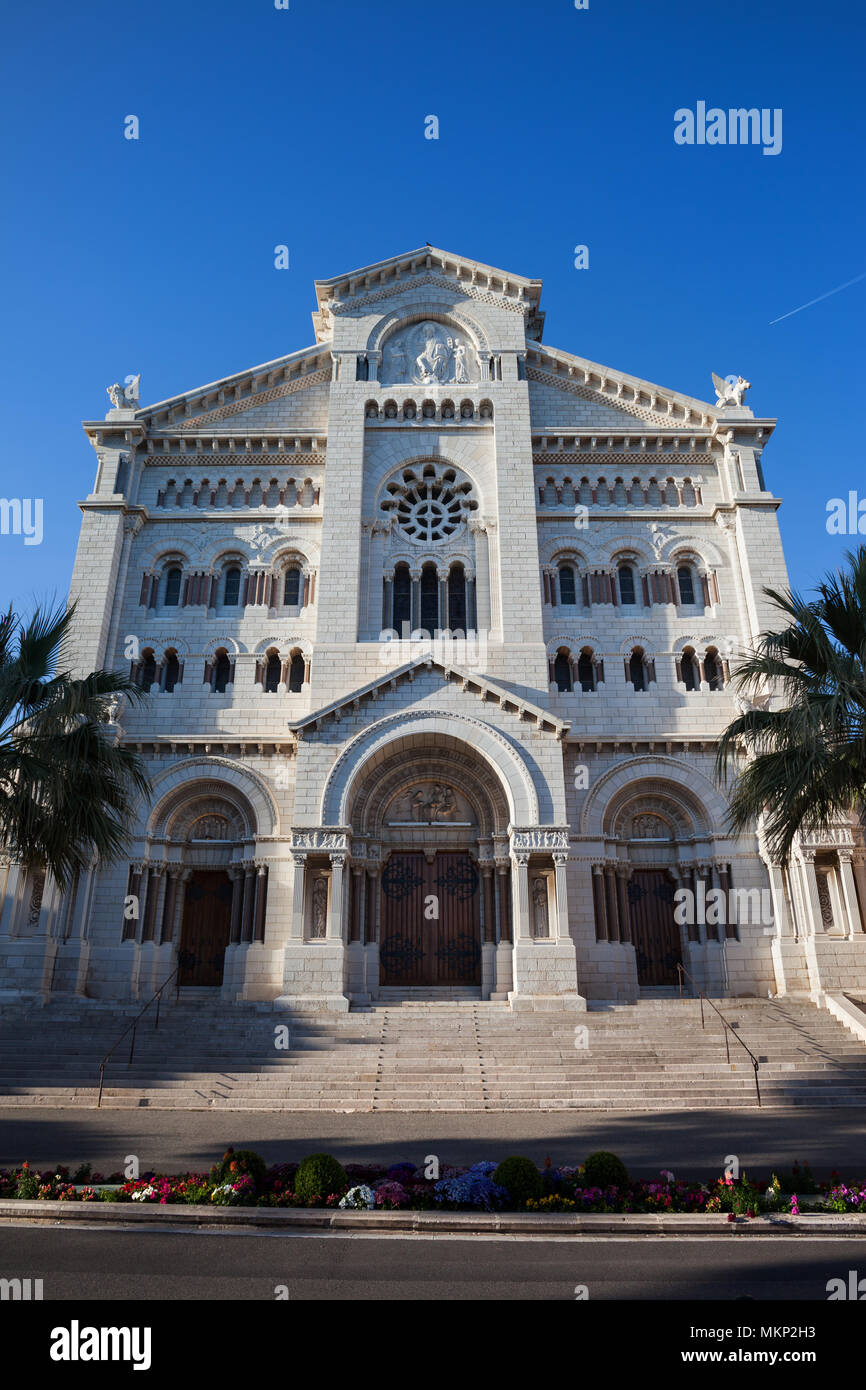 Monaco, Saint Nicholas Cathedral (Cathedrale Notre Dame Immaculee), built in 1875-1903, Romanesque Revival architecture - Stock Image