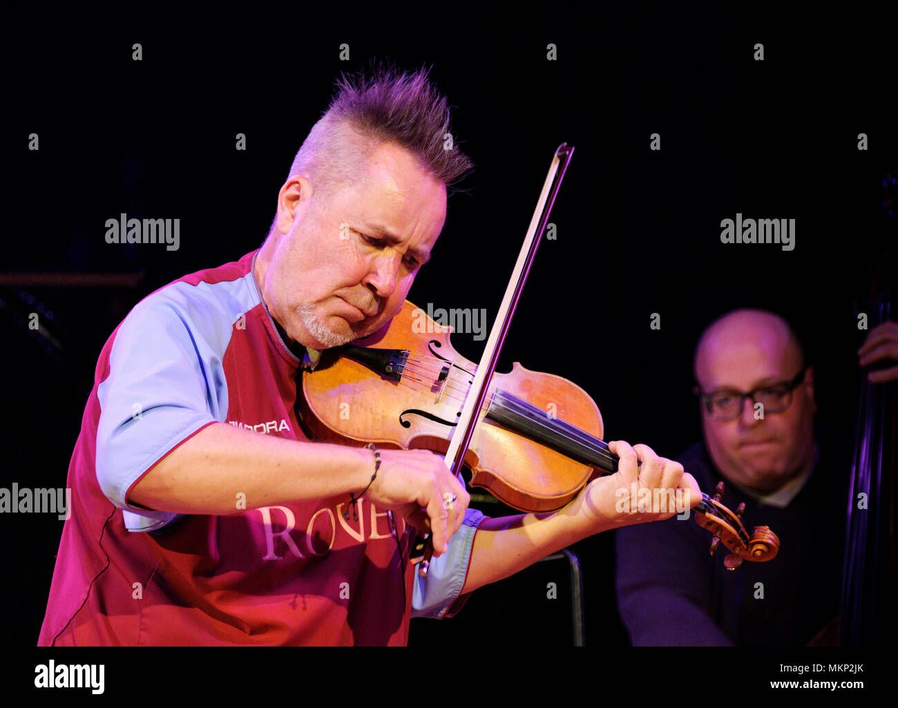 Nigel Kennedy plays the violin during his soundcheck at the