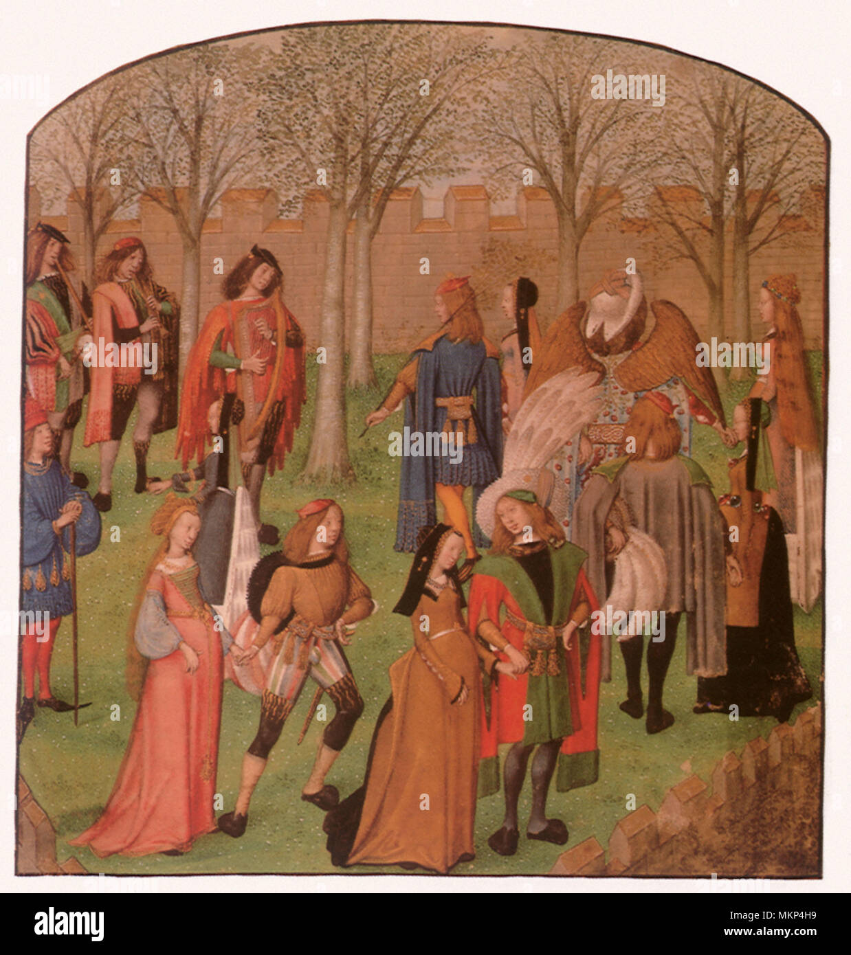 Knights and Ladies dancing in the Garden of Love 1450 Stock Photo ...