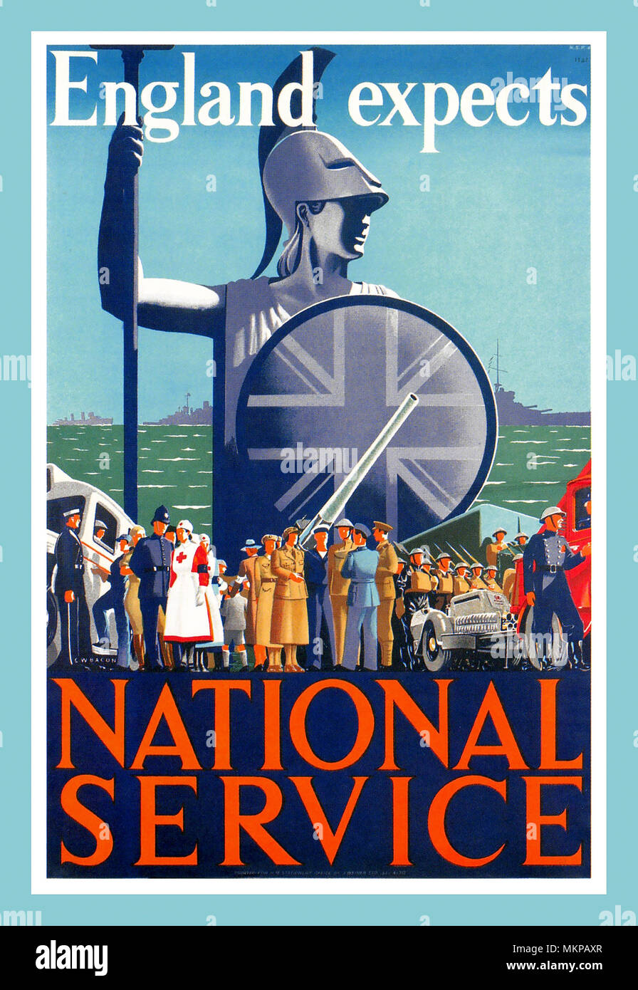 WW2 Vintage Propaganda Recruitment Poster 1939 ENGLAND EXPECTS NATIONAL SERVICE - Stock Image