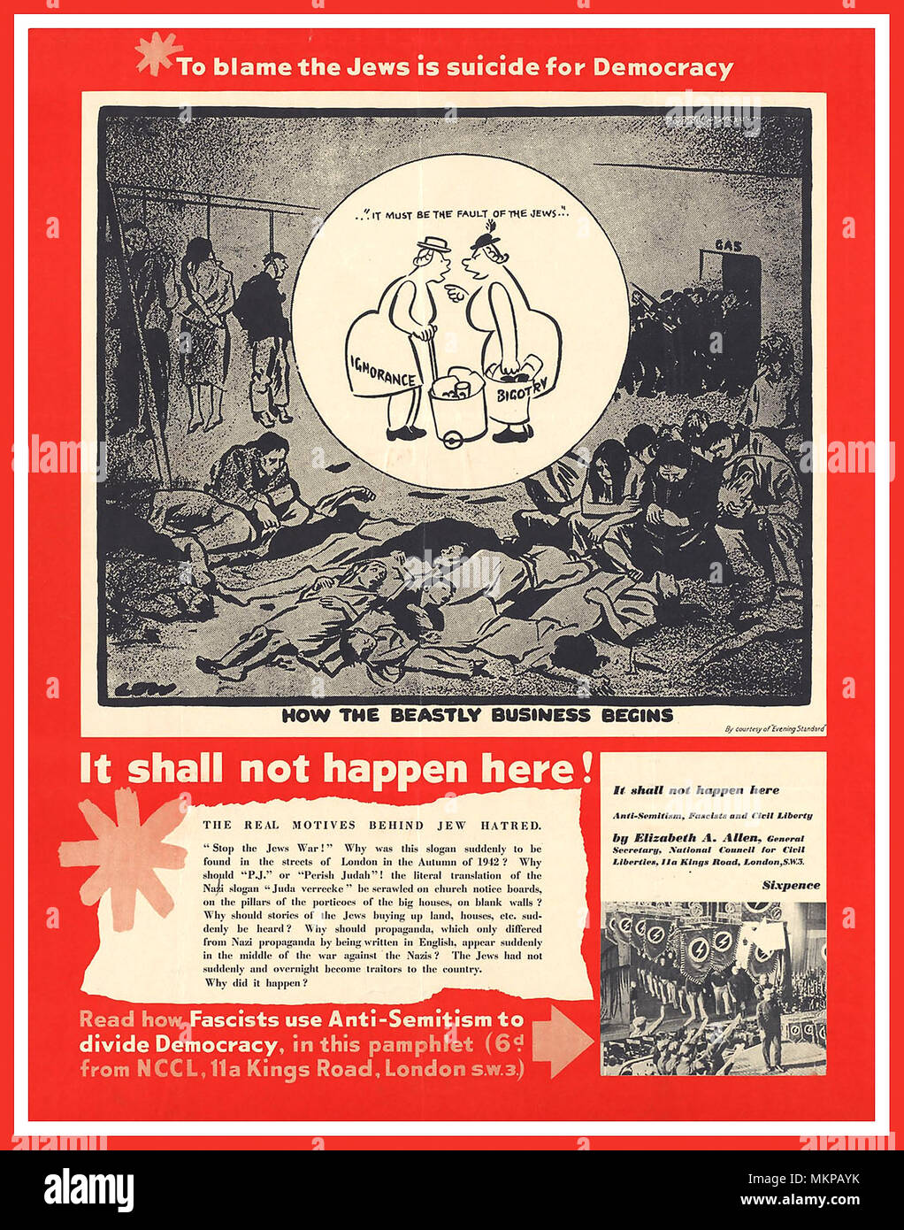 """WW2 British Propaganda  Anti Facist anti Jewish discrimination Poster 1939-45  """"To blame the Jews is suicide for Democracy"""". 'How The Beastly Business Begins It shall not happen here!' Stock Photo"""
