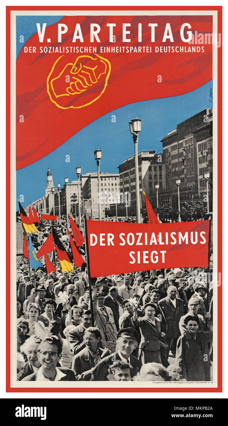 Vintage East German Propaganda Poster 'Socialism Triumphs'  1958 5th SED Party Congress Day The Socialist Unity Party of Germany. Socialism WINS - Stock Image
