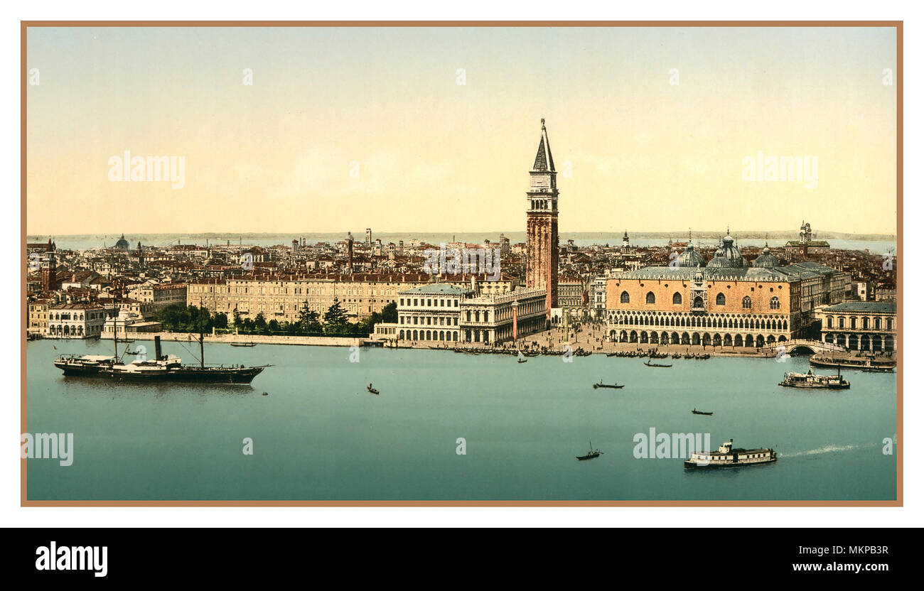 VENICE Vintage Old Historic Wide View Photochrom Doges' Palace, and Saint Marks Square Venice, Italy 1900 Photochrome evocative artistic Grand Canal view Venice, Italy. Using post colouring technique via transfer onto lithographic printing plates from Black and White negative images. Chromolithograph process. - Stock Image