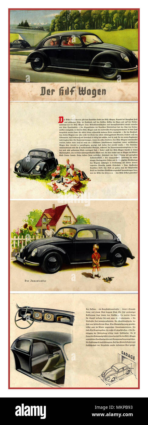 VOLKSWAGEN Vintage advertisement 1930's for The 'KdF-Wagen' (German: Kraft durch Freude – 'strength through joy') VW Volkswagen Motorcar. Adolf Hitlers idea of providing (for those who saved through a stamp scheme) a  'people's car' - Stock Image