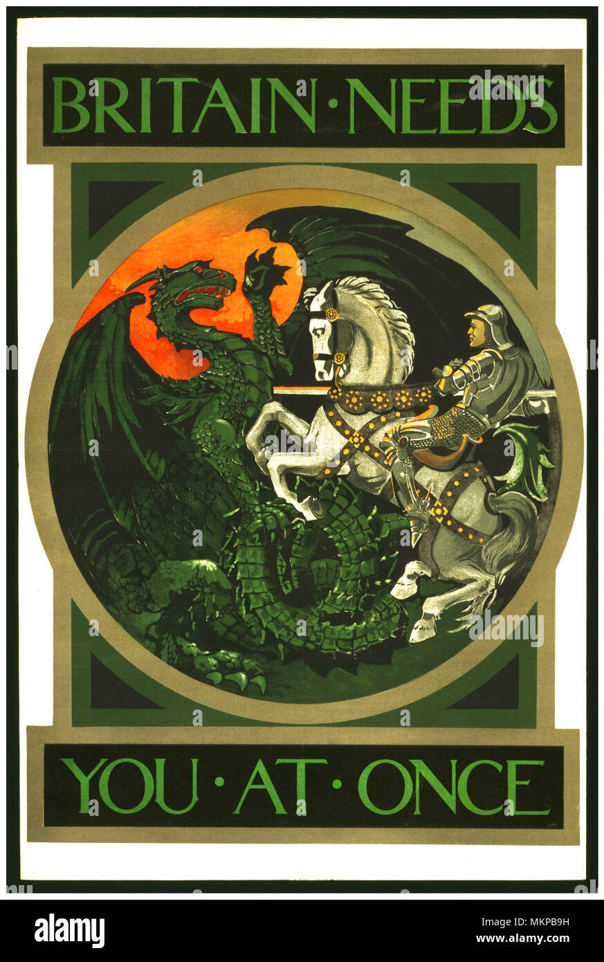 BRITAIN NEEDS YOU AT ONCE  British WW1 Propaganda Poster