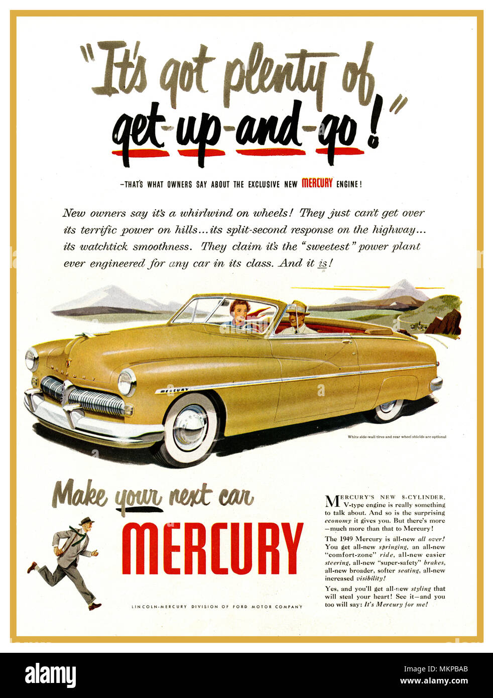 1949  American USA Mercury Car Automobile Press Ad Mercury 2 door, powerful 8 Cylinder V4 engine coupe  'Make Your Next Car a Mercury'' - Stock Image